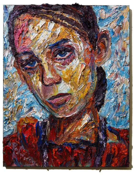 Oil Paint on Stretched Canvas of 30 by 24 by 3/4 in. / Original oil painting impressionist outsider female portrait vintage art realism