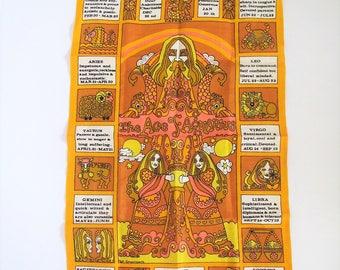 Mid century zodiac wall hanging/ Irish linen/ Age of Aquarius/ orange/astronomy signs/ Psychedelic
