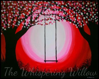 ACRYLIC PAINTING 16x20 Red & Pink Swirl Painting Black Silhouette Tree Swing