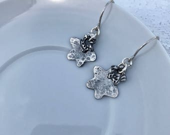 Fine Silver Hammered Flower Earrings