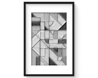 UNCOLORED No.2 - Giclee Print - Abstract Geometric Pencil Sketch Mid Century Modern