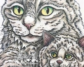 NEW - Kitty Cuddles, realistic drawing of a Mom cat with her kitten by LeighSBDesigns