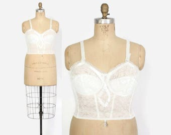 Vintage 60s Long Line BRA / 1960s Deadstock NOS White Lace Longline Bra 38 C