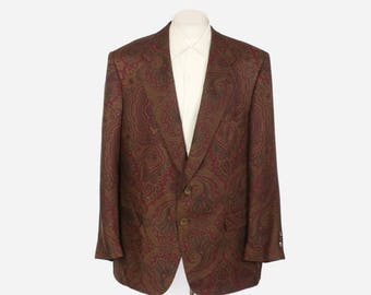 Vintage 80s Silk Blazer / 1980s Men's Countess Mara Designer Tuxedo Jacket
