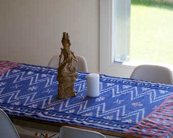 Balinese ikat  - soft cotton handwoven textile for scarf, table cloth, bed runner or wall decoration GENUINE IKAT