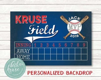 Scoreboard Baseball Backdrop Customized Printable File Click On Item Details For More