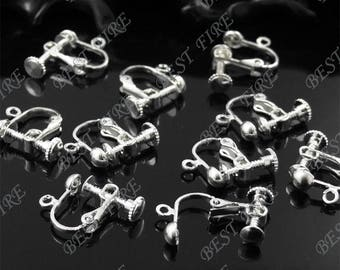 300 pcs of silver tone  brass leverback ear clip screw 14x16mm,earring findings