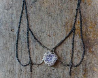 Swallowtail butterfly design silver crochet necklace