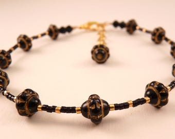 Beaded Anklet  Ankle Bracelet Black Anklet  Beaded Anklet Beaded Jewelry Black Jewelry Gold Anklet Gold Jewelry