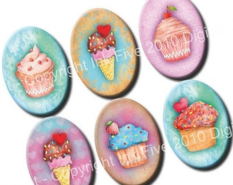 Sweet Muffins 18x25 mm ovals. Watercolor cupcakes digital collage sheet for 18 x 25 mm for cabochons, pendants, cameos. Download images