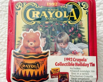 Crayola Crayon Tin Box with Crayons Inside 1992 New Christmas Red Yellow Collectible