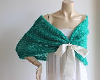 Emerald Bridal Capelet / Wedding Wrap Shrug Bolero/Hand Knit  Glitter Mohair Shawl/ Scarf -Emerald Shoulder Cover-Light and Airy