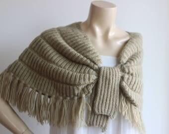 Khaki Cape/Wedding Wrap Shrug Bolero/Hand Knit Shawl