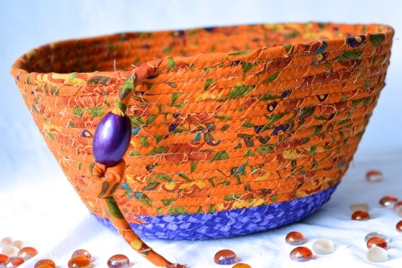 Lovely Fall Basket, Handmade Halloween Basket, Tan and Purple Fabric Bowl, Fall Decoration, Autumn Decorative Basket