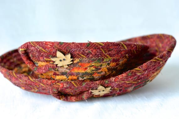 Fall Desk Accessory Basket Set of 2, Handmade Ring Bowl, Jewelry Catcher, Autumn Desk Accessory Bowl Set of 2, Rustic Fiber Bowl