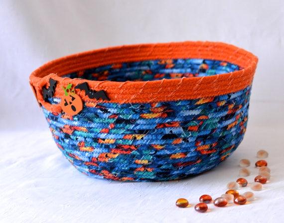 Halloween Candy Basket, Handmade Blue and Orange Bowl, Lego Toy Organizer Bucket, Storage Basket, Bin, Container
