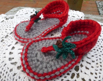 Red and Gray Crocheted Baby Sandals, Baby Sandals, Crocheted Baby Booties (3 sizes)