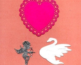 241 - lot 3decoupes heart and Swan and Cupid cards or scrapbooking