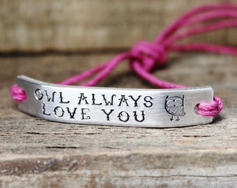 Bracelet Owl Always Love You ONE Custom Hand Stamped Jewelry Name Tie On Hemp Cord Personalized Friendship Gift For Friend