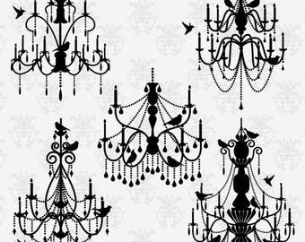 BACK TO SCHOOL Sale Chandeliers and Birds Clipart Clip Art , Chandelier Silhouettes Clipart Clip Art - Commercial and Personal Use