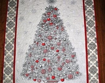 Sale Christmas in July Christmas Tree Wall Hanging, Handmade, Table Topper, Ornaments Red and Silver, Christmas Tree, quilted, fabric from K