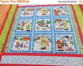 Sale Christmas in July Christmas Lap Quilt, Snow Kids, Fanciful