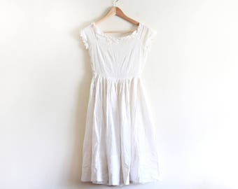 50's Vintage Sheer White Textured Dress / Youth Size / Petite Dress / Fit and Flare Dress