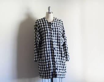 Vintage Woven Plaid Jacket / Nubby Textured Cotton / Loose Jacket / Handwoven Cotton Jacket / Black and White / M L