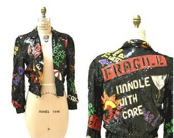 SALE Vintage Black Sequin Jacket 90s pop art Fragile Jacket// Vintage Black Sequin Jacket Bomber Jacket Modi Sequin