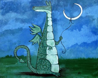Dragon Nursery Wall Art Print 8 x 10 Moon Fairy Tale Storybook Painting Whimsical Cute Children Room Decor Gift Kids Playroom Artwork