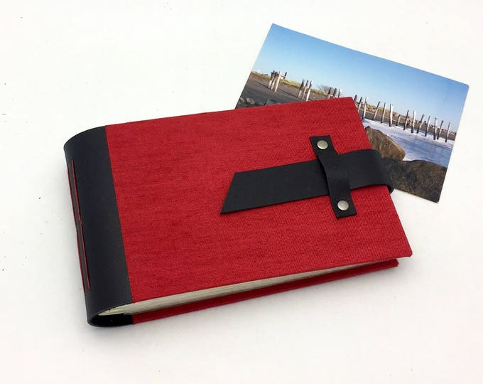 Mini Photo Album - Black Leather and Red Canvas - In stock for 4x6 photos