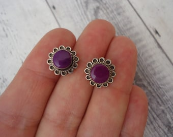 10mm Vintage Minimalist Sterling Silver and Sugilite Gemstone Pierced Stud Earrings, Purple Stone Earrings