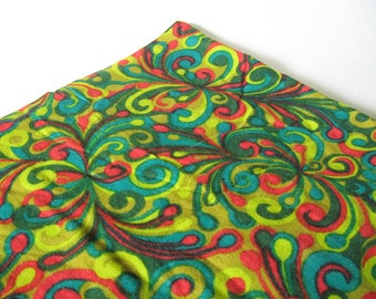 Mod midcentury vintage woven coarse cotton fabric material burlap lime green red teal AMAZING