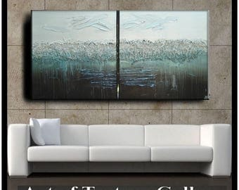 SALE 60 x 30 Custom Original Abstract Impasto Texture Silver Gray Aqua Brown Metallic Oil Painting by Je Hlobik