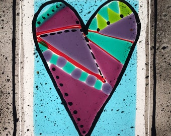 Heart, Glass Window Decor, Stained Glass, Fused Glass, Painted Heart Window Hanging