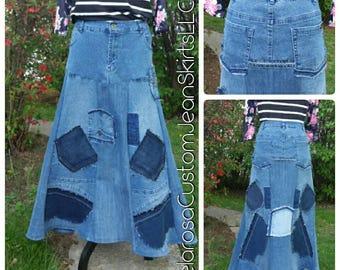 DELAROSA custom jean skirt Alevia Patchwork Pocket Denim skirt full flair Style 0-2-4-6-8-10-12-14-16-18-20-22-24