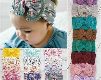 ONE SIZE FITS All Baby headbands, Nylon headbands,Nylon Top Knot Bow Head wrap, baby headwrap,Baby Headband,Baby Nylon Headbands, Big bow