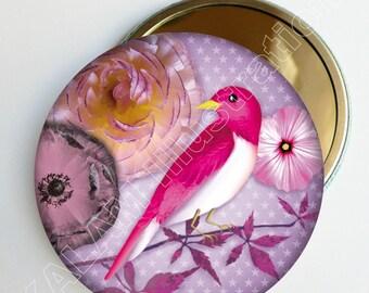 """Miroir de poche """"Rosy"""" fond étoilé mauve, accessoire de sac, cadeau femme, miroir rond 75mm"""