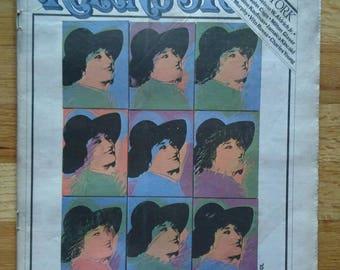 Rolling Stone Magazine, October 6 1977, Feminist Activist Bella Abzug, Andy Warhol cover, Warhol print, Warhol illustration, modern art mag