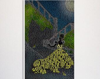 "Cinderella Grimm Fairy Tale word art print - 11x17"""