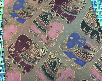 Vintage Mens Thai Silk Elephant Necktie Gold Detail - elephant necktie, Thai silk necktie, mens tie, elephant lover