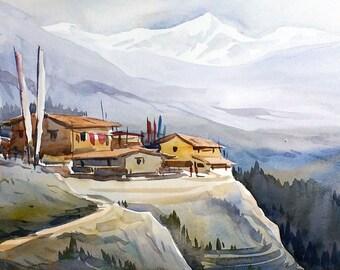 Himalaya Mountain Village - Original Watercolor Painting