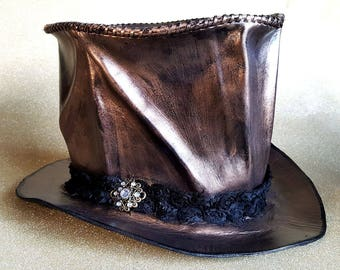 Bronzed Leather Top Hat