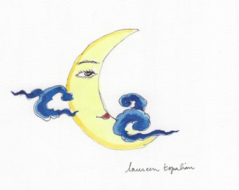 Original watercolor - Moon face-Moon and clouds