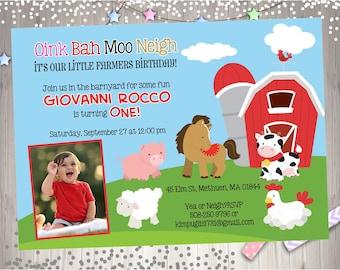 Farm Birthday Invitation Invite Farm Invitation Farm Animal Birthday Invitation On the farm Photo Picture -  Digital - DIY Print Your Own