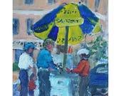 Original Acrylic figurative painting 10X8 Sabrett's hot dog stand Morristown NJ