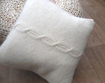 "Cream Mohair Cable Cushion / Pillow throw 14"" x 14"". Unique original design hand knitted in mohair , cream knitted home decor , tartan back"