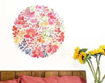 Self Adhesive Art. Floral Wall Sticker. Peel and Stick Wall Art. Flower Wall Decal. Self Adhesive Decal. Self Adhesive Decor. Flower Decal.