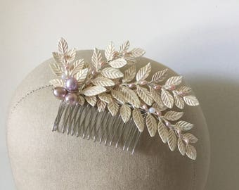 Silver leaf bridal hair comb, wedding hair comb, decorative hair comb, silver and ivory bridal comb - 'Eden' (mauve)