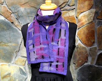 Nuno felt scarf: rose, violet, and purple fiber painting